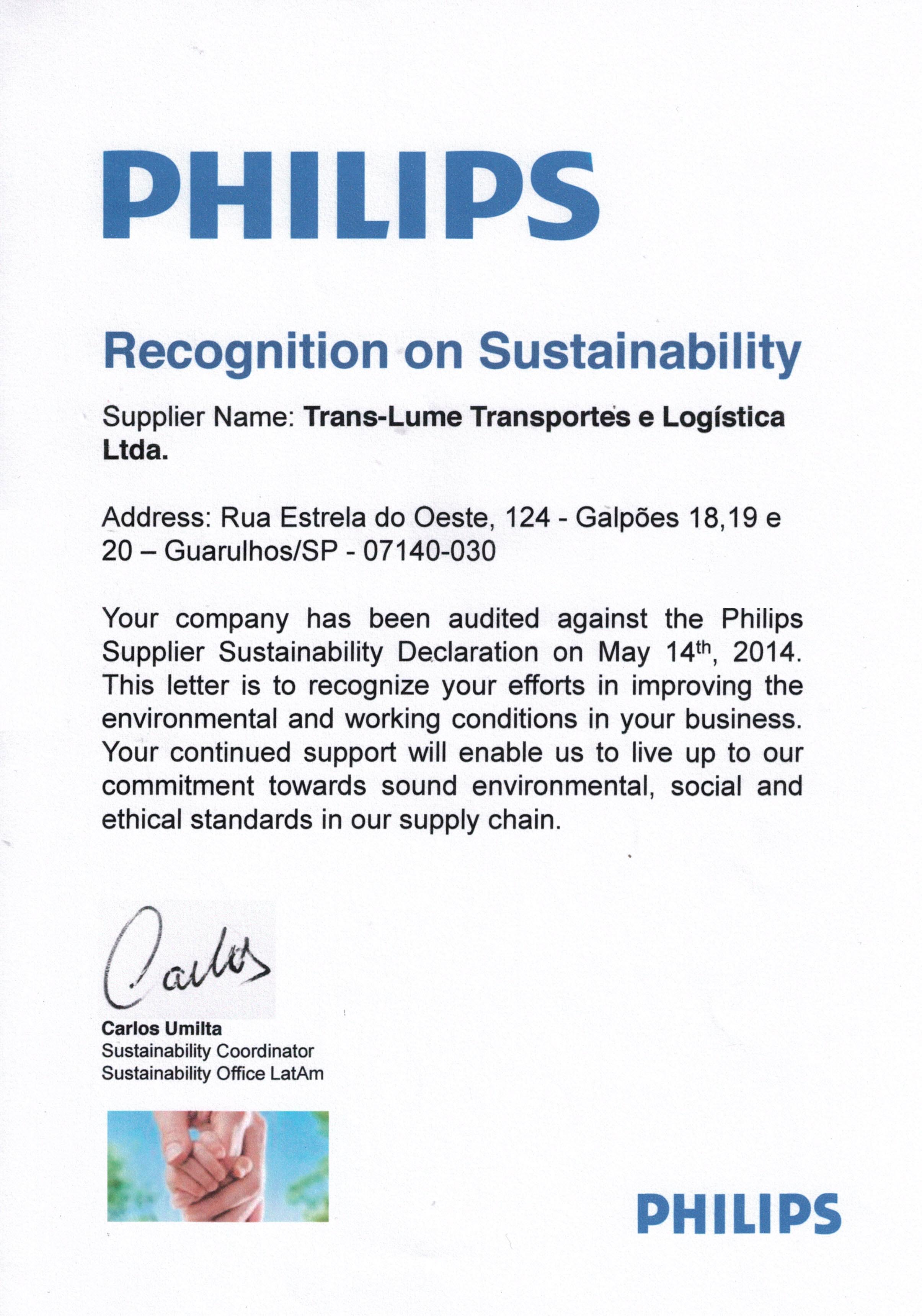 Reconhecimento de Sustentabilidade Philips 2014 - Trans-Lume